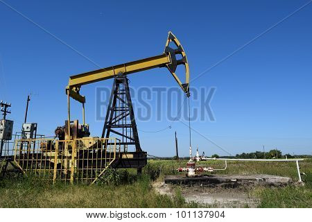 The Pumping Unit As The Oil Pump Installed On A Well