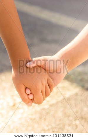 Children Hand In Hand Support Concept
