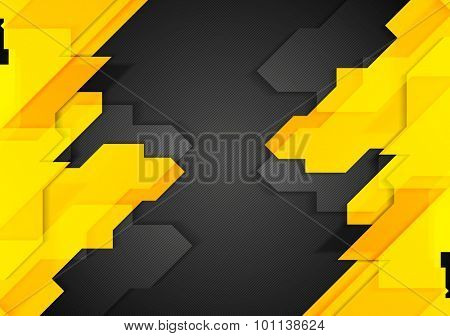 Orange black tech corporate background. Vector design