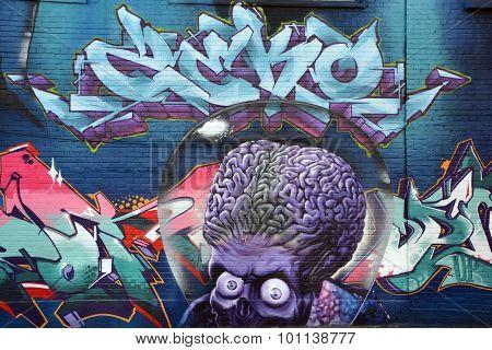 Street art Mars attack