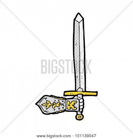 comic book style cartoon sword and hand