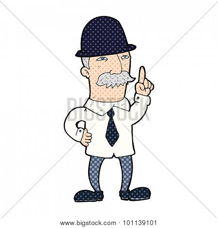 comic book style cartoon man in bowler hat