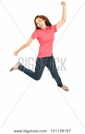 Extreme Celebration Jumping Asian Woman Fist Pump