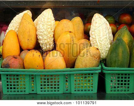 Bitter Gourds, Mangos And Papayas