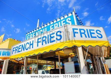 Carnival concession stand with french fries