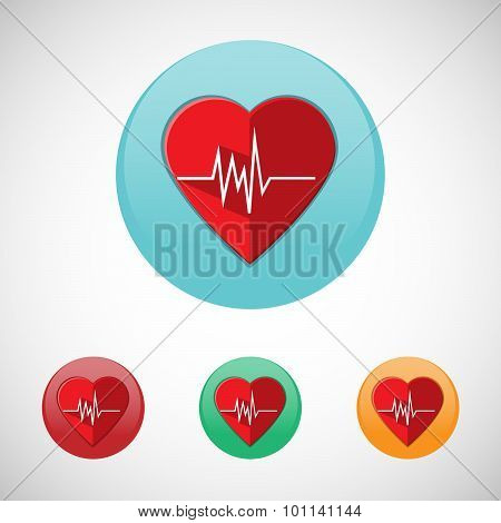 Heart Rate Monitor Vector Icon Set.