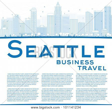 Outline Seattle City Skyline with Blue Buildings and copy space. Business travel concept. Vector Illustration