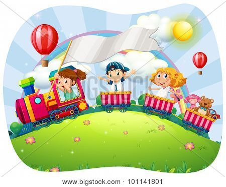 Children riding on train at daytime illustration