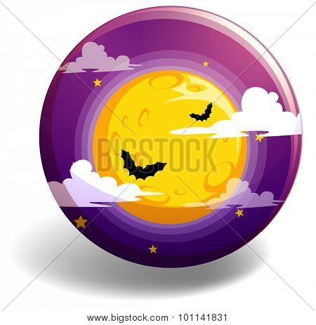 Halloween night on round badge illustration