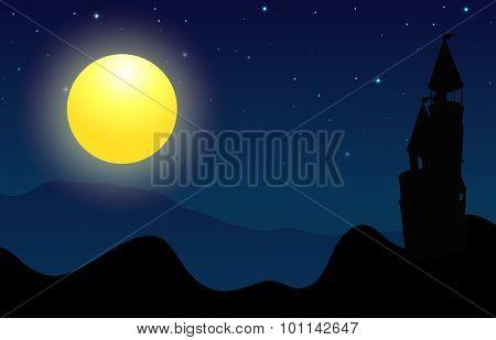 Silhouette scene of castle on fullmoon night illustration