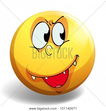 Silly face on yellow badge illustration
