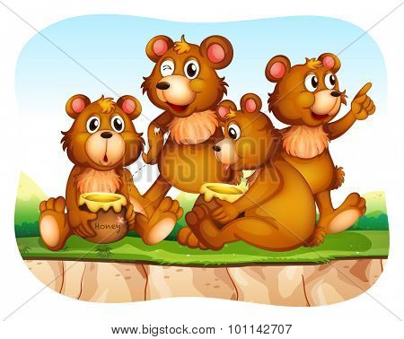 Grizzly bear eating honey illustration