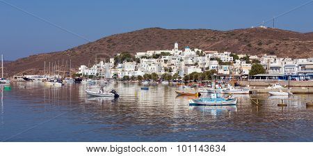 Panoramic view of Adamantas village, Milos island, Cyclades, Greece