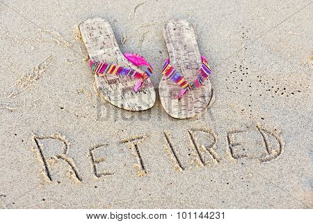 flip-flops with retirement sign