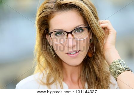 Portrait of mature woman with eyeglasses