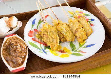 Grilled Pork Satay And Peanut Sauce, Thai Food