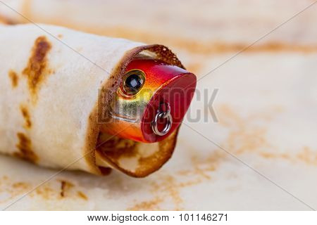 Fishing Tackle Lure Rolled In Pancake
