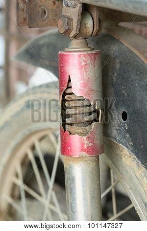 Motorcycle Shock Absorber Rusty Crack Broken