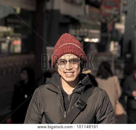 Asian Male In Winter Chilling Out In City Instagram Tone