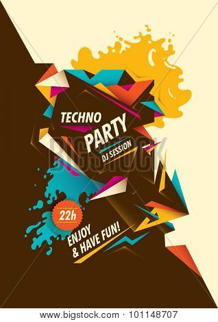 Abstract techno party poster. Vector illustration.