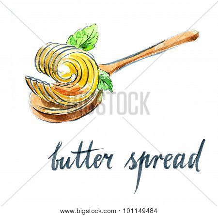 Butter Spread On Spoon With Mint Leaves