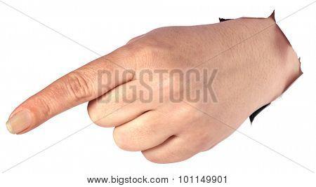 Pointing Down thru Paper Wall Cutout