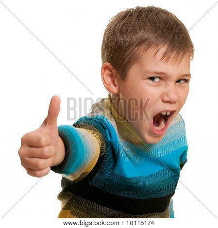 Closeup Portrait Of A Very Happy Boy Isolated On White