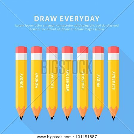 Vector illustration of seven pencils for everyday. Flat style on a blue background