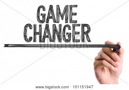 Hand with marker writing the word Game Changer