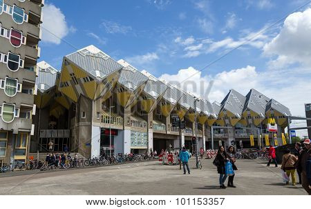 Rotterdam, Netherlands - May 9, 2015: Tourist Visit Cube Houses The Iconic In The Center Of Rotterda