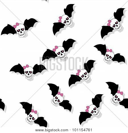 Scattered Skulls With Pink Bow And Bat Wings. Seamless Pattern
