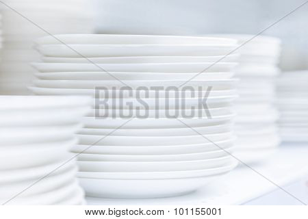 White Dishes Stacked Clean Tableware