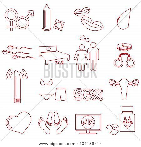 Sex Theme Simple Outline Red Icons Set Eps10