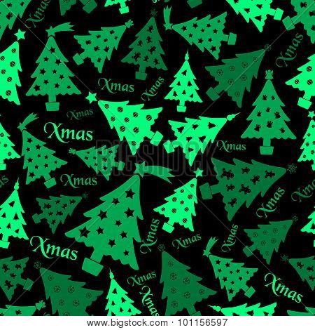 Set Of Christmas Green Tree Decoration Dark Seamless Pattern Eps10