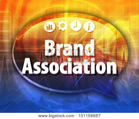 Speech bubble dialog illustration of business term saying Brand Association