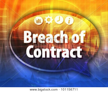 Speech bubble dialog illustration of business term saying Breach of Contract