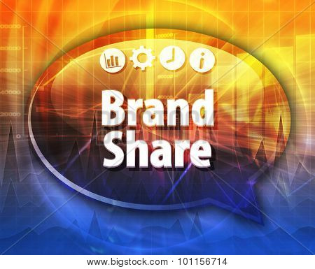 Speech bubble dialog illustration of business term saying Brand Share