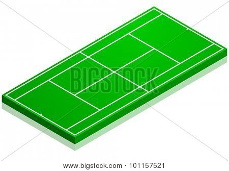 detailed illustration of a tennis court with isometric perspective, eps10 vector