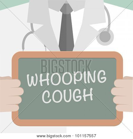 minimalistic illustration of a doctor holding a blackboard with Whooping Cough text, eps10 vector