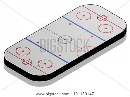 detailed illustration of a Ice hockey field with isometric perspective, eps10 vector