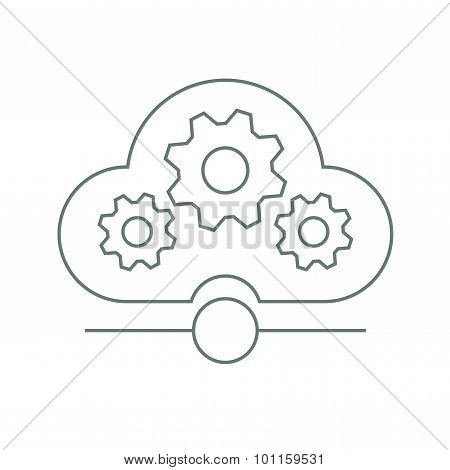 Infrastructure - Creative Cloud Background With Gears. Stock Illustration Flat Design Icon. - Vector