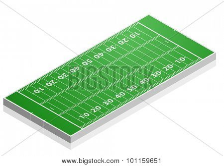 detailed illustration of a American Football field with isometric perspective, eps10 vector