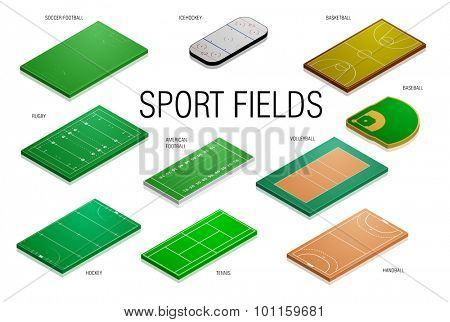 detailed illustration of different sport fields and courts, eps10 vector
