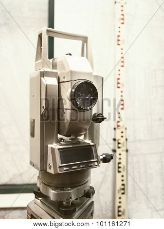 Land Survey Camera Equipment On Site