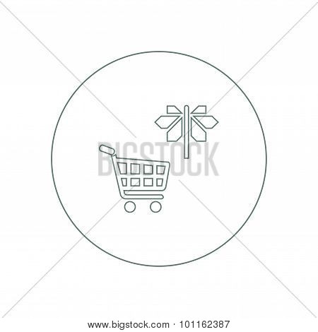 Marketing Strategy Concept Icon. Crossroad Sign Concept Icon. Cart Concept Icon. Different Marketing