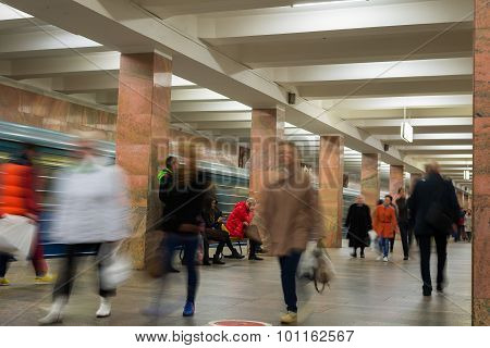 Moscow, Russia -27.04.2015. Subway Stations Ulitsa 1905 Goda. Moscow Metro Carries Over 7 Million Pa
