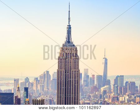 NEW YORK,USA- AUGUST 15,2015 : Sunset over the Empire State Building and New York City