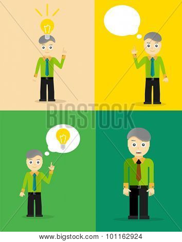 Young businessman thinking of his ideas. Set of flat design concepts. Vector illustration