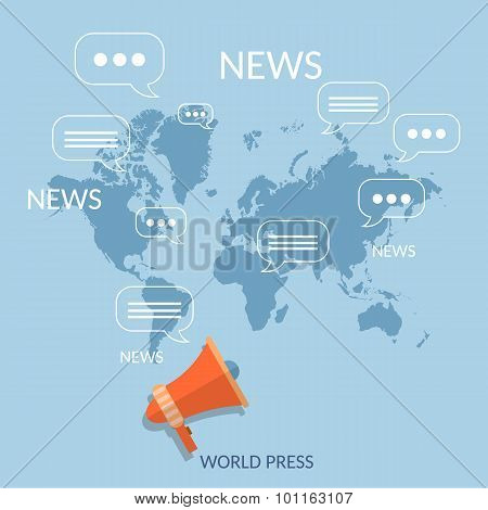 World News Concept Global Online Telecommunications