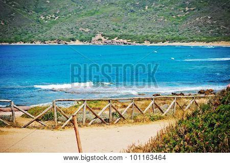 Porto Ferro Beach On A Summer Day